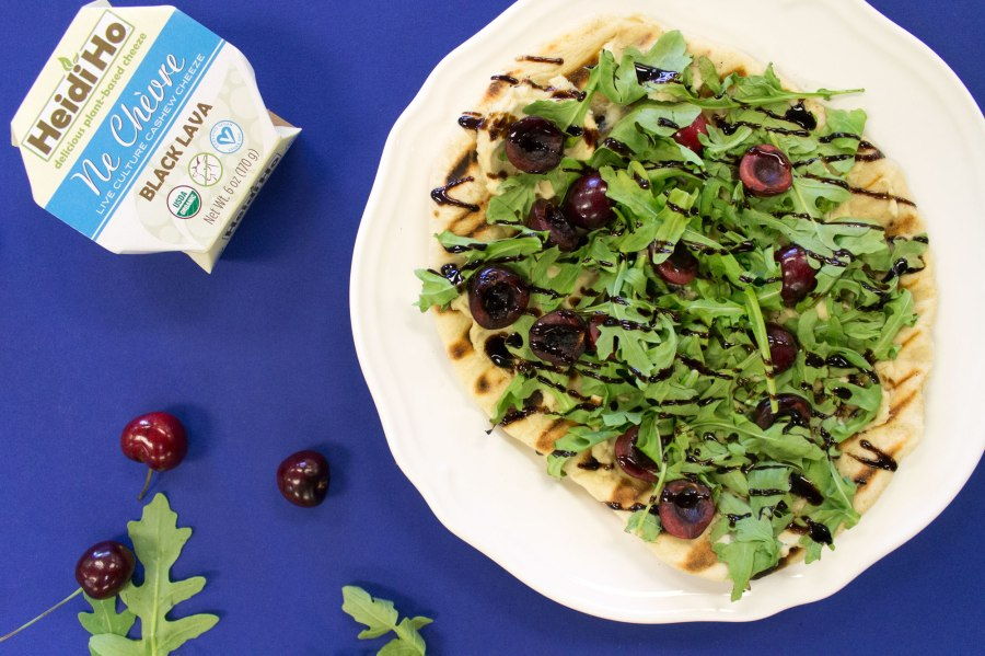 Grilled Pizza with cherries, arugula and Black Lava NeChèvre