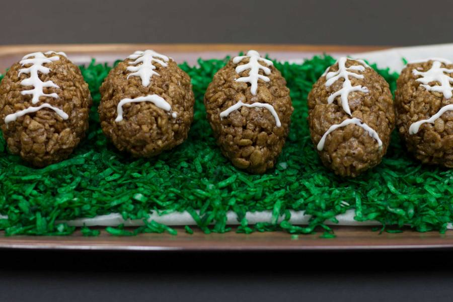 Chocolate Rice Crispy Footballs